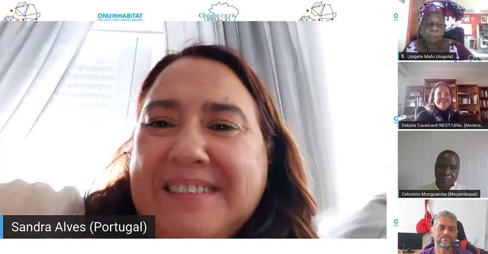 """Sandra Alves, em representação de Portugal, no encontro da Lusotopia do Projeto África Habitat, sob o tema """"Habitar as Margens na Lusotopia II: iniciativas locais, apoios e concertação na COVID-19"""""""